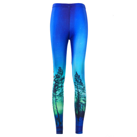 Aurora Sky Printed Neon Blue Sexy Colourful Mid Waisted Women Casual Leggings - Single Colour