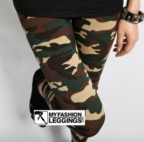 Army Green Camouflage Printed Cheap High Waisted Women All Weather Legging - Single Color