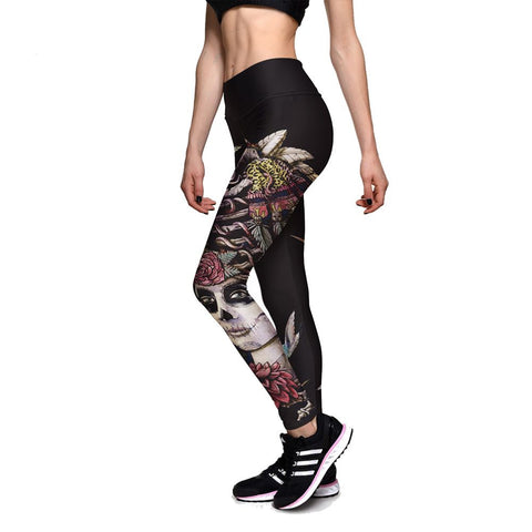 Unique Cool Style Bird Printed Women Workout Attractive High Waisted Black Leggings - Single Color