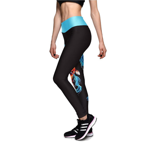 Blue Water Dragon  High Waisted Travel and Casual Cute Women Cool leggings