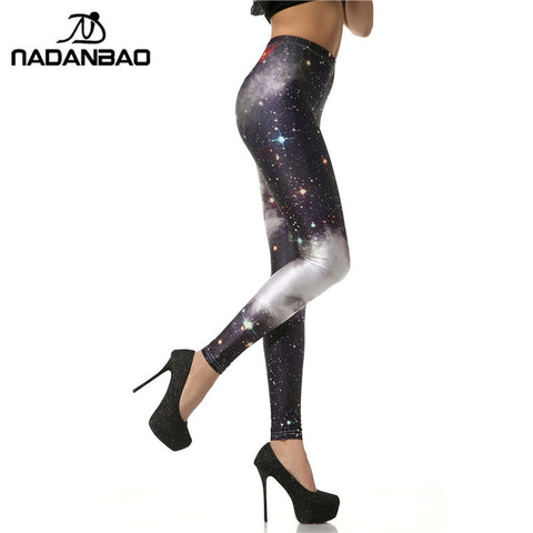 Black Galaxy Simulated Slim Sexy High Waisted Women Printed Leggings