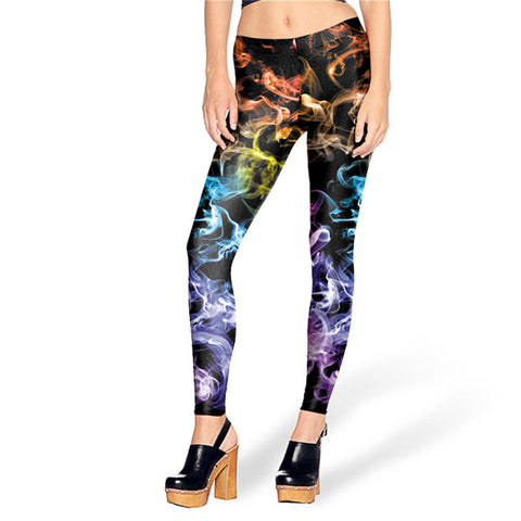 3D Printed Ray Fluorescence Colored Women High Waisted Quality Printed Ladies Leggings - 9 Colors