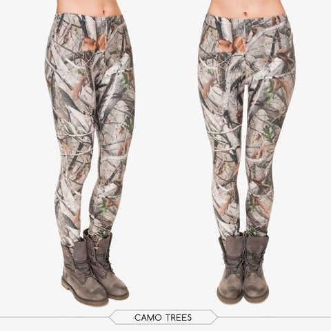 Camo Tree Pattern Printed Unique Women Mid Waisted Spandex Leggings - Single Color