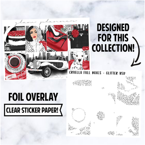 Cruella: Foiled Overlay Full Boxes, Red Glitter