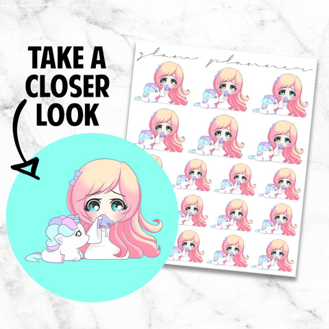 Sad: Lolly and Pop Kawaii Planner Character Stickers
