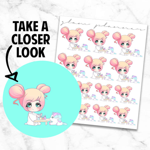 Manicure/Paint Your Nails: Lolly and Pop Kawaii Planner Character Stickers