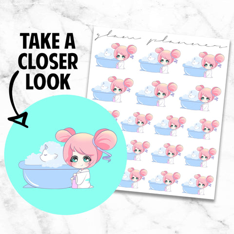 Pet Bath: Lolly and Pop Kawaii Planner Character Stickers