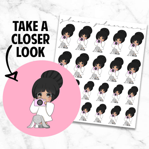 Camera/Take Pictures!: Honey and Bun Kawaii Planner Character Stickers
