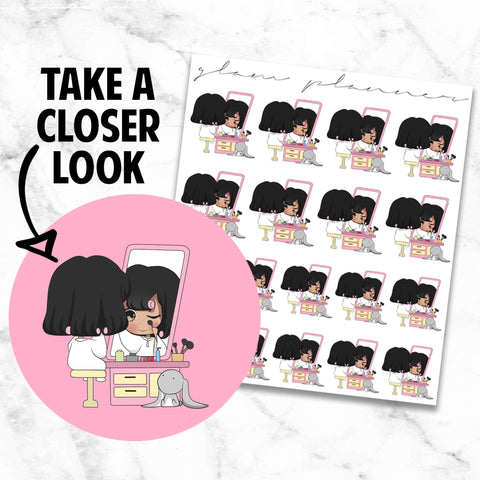 Do Your Makeup/Getting Ready: Honey and Bun Kawaii Planner Character Stickers