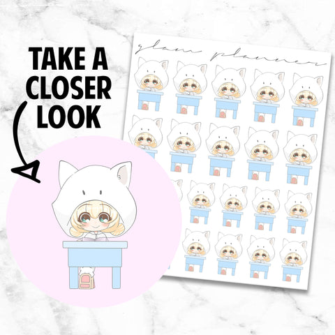 School/Class: Teeny and Bop Kawaii Planner Character Stickers