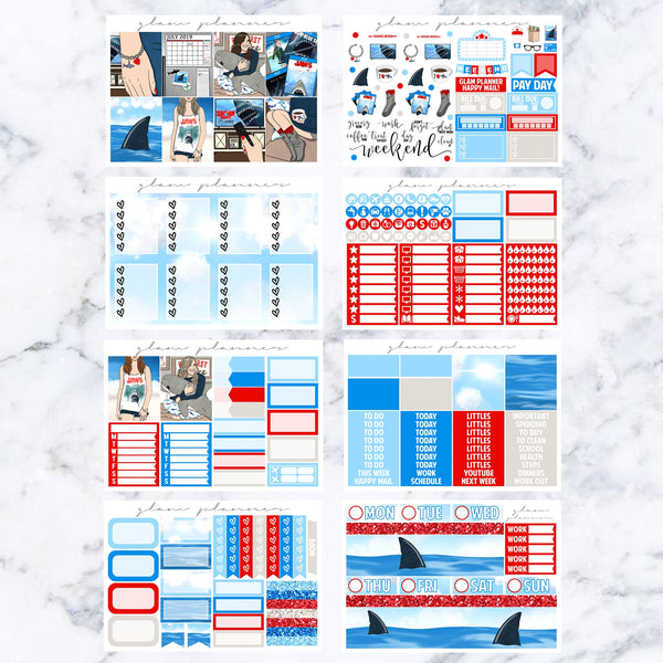 Shark Week Vs. 1 Luxe Kit (Glam Planner Stickers for Erin Condren Life Planner)