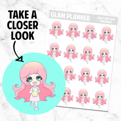 Lemonade: Lolly and Pop Kawaii Planner Character Stickers