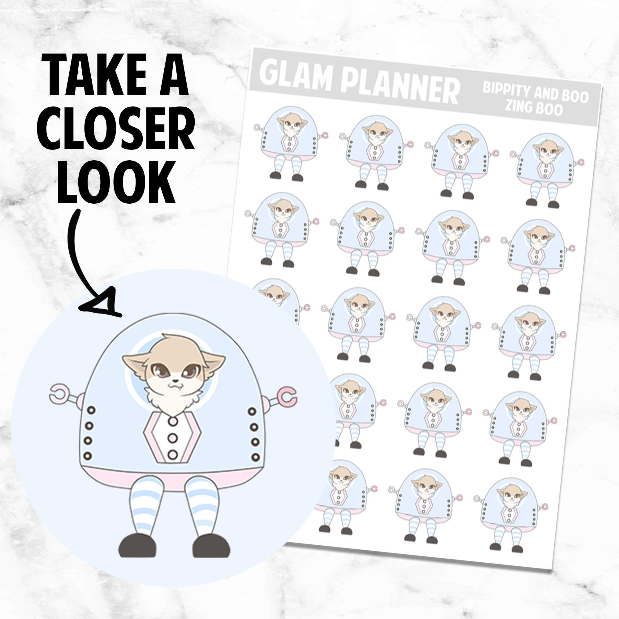 Zingbot: Bippity and Boo Kawaii Planner Character Stickers