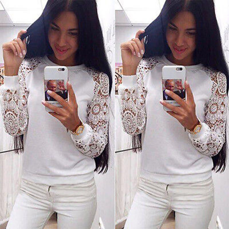 Women Long Sleeve Lace Sweatershirt Pullover Knitwear White - Hoodie Lover