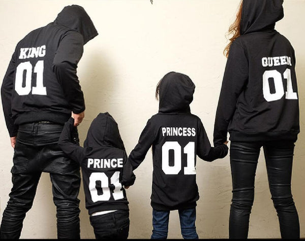 KING Queen Princess Prince Print Funny Hoodies for Family - Hoodie Lover