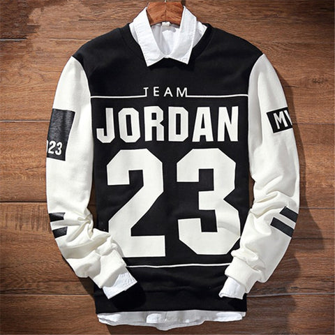 Harajuku Men Winter Hoodies Jordan Black White - Hoodie Lover