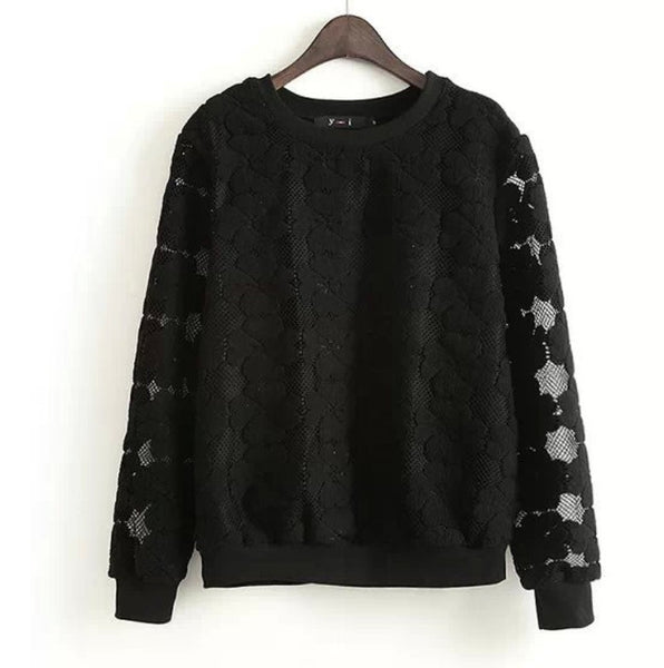 New 2017 Round Neck Hedging Sweatshirt Women Lace Hollow Out - Hoodie Lover