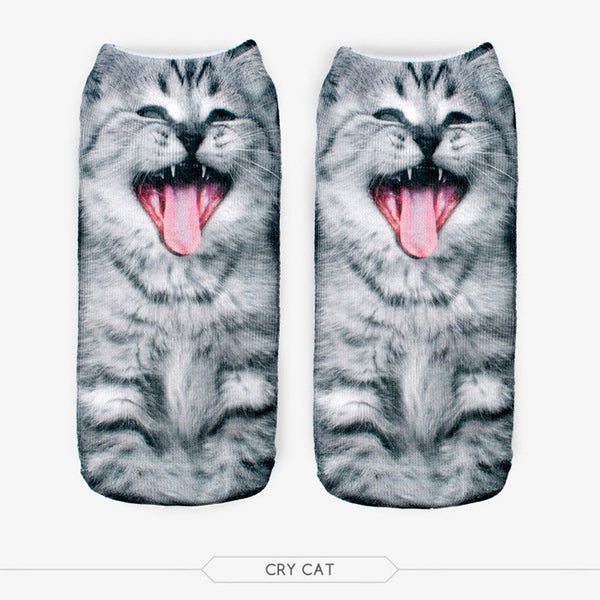 FREE Cute Cat Pattern 3D Printed Low Cut Ankle Women's Socks - Hoodie Lover