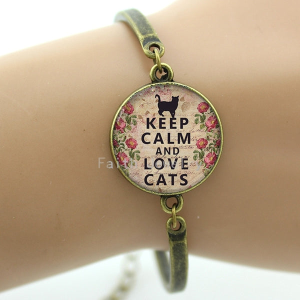 Keep Calm and Love Cats Bracelet - Hoodie Lover