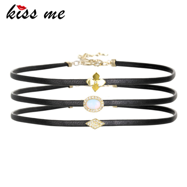 KISS ME 3pcs/set Crystal Choker Necklace 2017 - Hoodie Lover