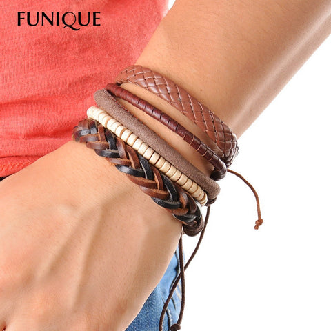 1Set (3-4PCs) Leather Bracelet  Multilayer - Hoodie Lover