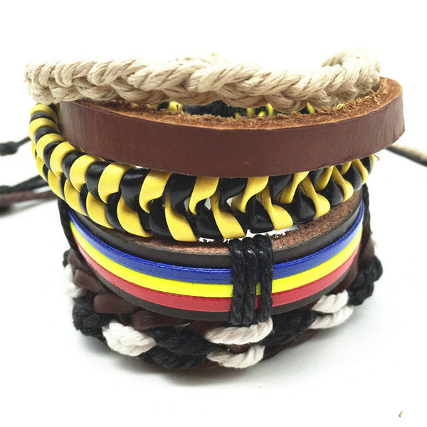 Punk Genuine Wrap Leather Bracelets Men For Women - Hoodie Lover