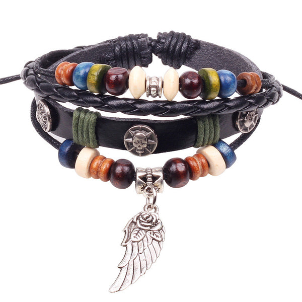 Retro rope leather men bracelets leather hand woven - Hoodie Lover