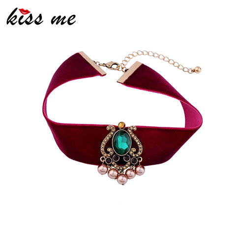 Brand Red Velvet Choker Necklace 2017 with Green Geometric Fashion Jewelry - Hoodie Lover