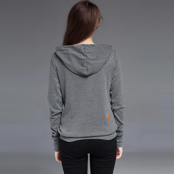 Winter Women Sweatshirt Hoodie Solid Long Sleeve, Pocket, Pullovers Slim - Hoodie Lover