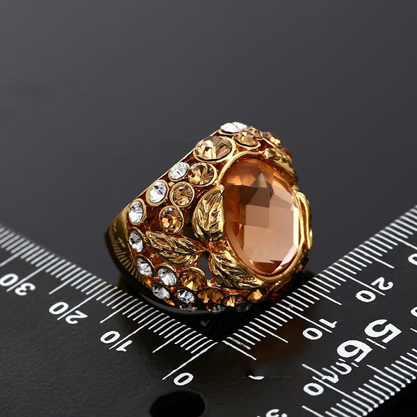 Champagne Crystal Ring Rose Gold plated for Women - Hoodie Lover