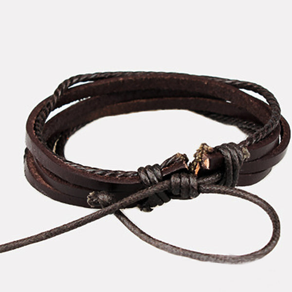 Hand-Woven  Wrap Multilayer Leather Braided Rope Wristband - Hoodie Lover