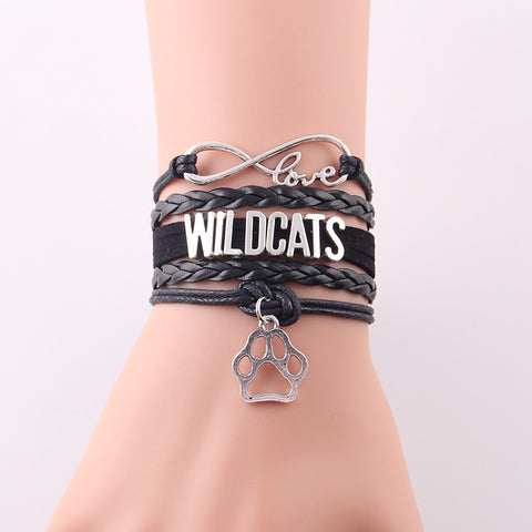 Love WILDCATS bracelet charm leather bracelets & bangles for women men - Hoodie Lover