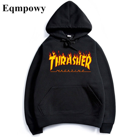 Eqmpowy 2017 thrasher Hoodies men Hip Hop Flame trasher Sportswear hoody Sweatshirt Solid Skateboard Pullover Hoodie Man clothes