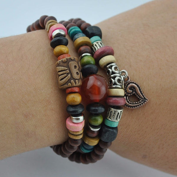 Retro leather bracelet necklace for men wooden bead bracelet - Hoodie Lover