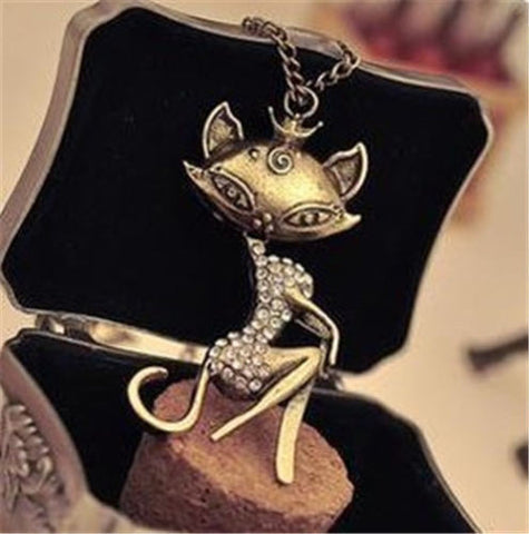 2017 Retro Women Sexy Cat Girl Rhinestone Crystal Pendant Necklace - Hoodie Lover