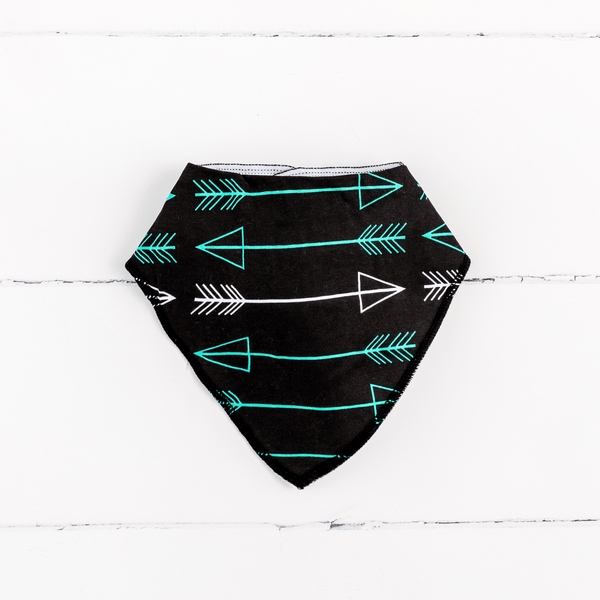 Baby Bandana Bib with  Arrow Print on Black