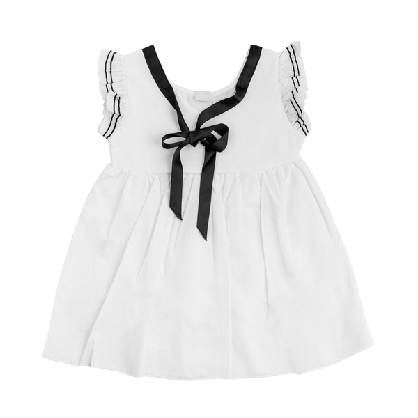 White Pinafore with Black Ribbon Bow