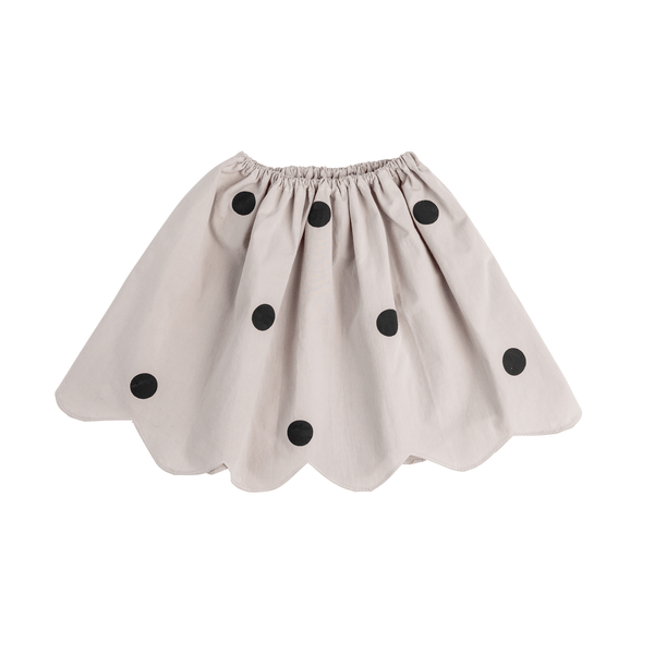 Grey Dotted Scalloped Skirt