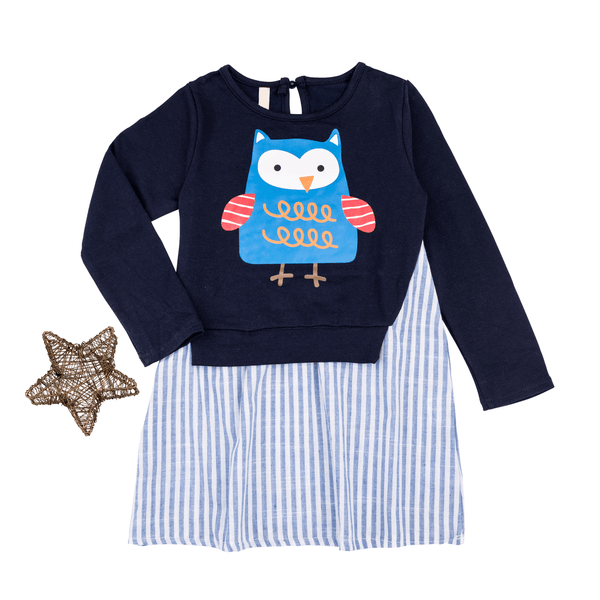 Mock 2 Piece Owl Dress