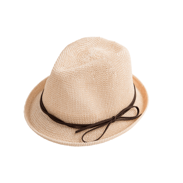 Airy Woven Fedora with Bow in Natural