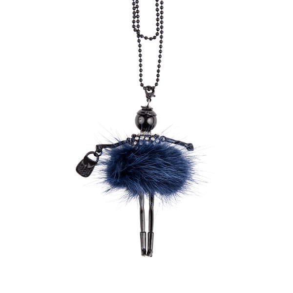Fur Pom Doll Necklace in Navy