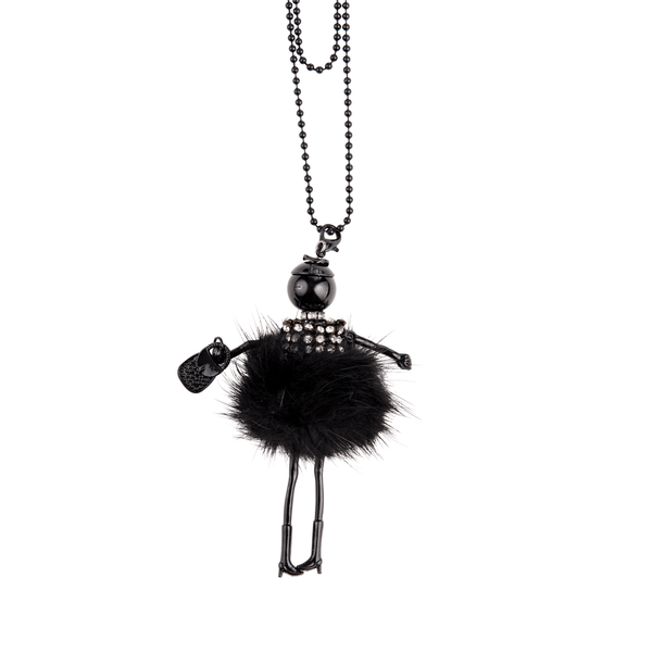Fur Pom Doll Necklace in Black