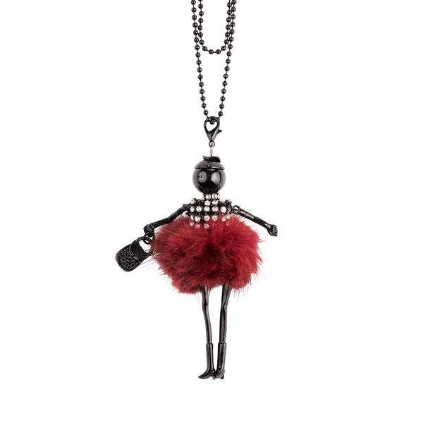 Fur Pom Doll Necklace in Red