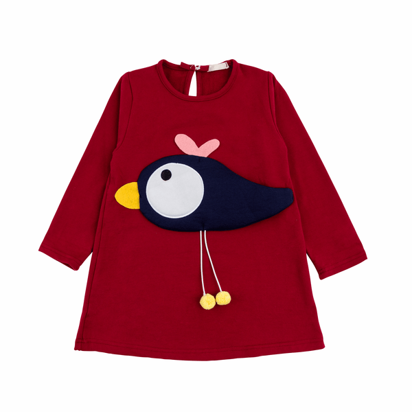 Cozy 3D Bird Tunic Dress in Deep Red