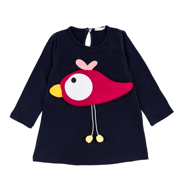 Cozy 3D Navy Bird Tunic Dress