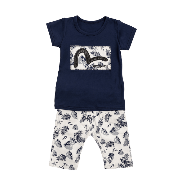 Navy Tropical Print Set