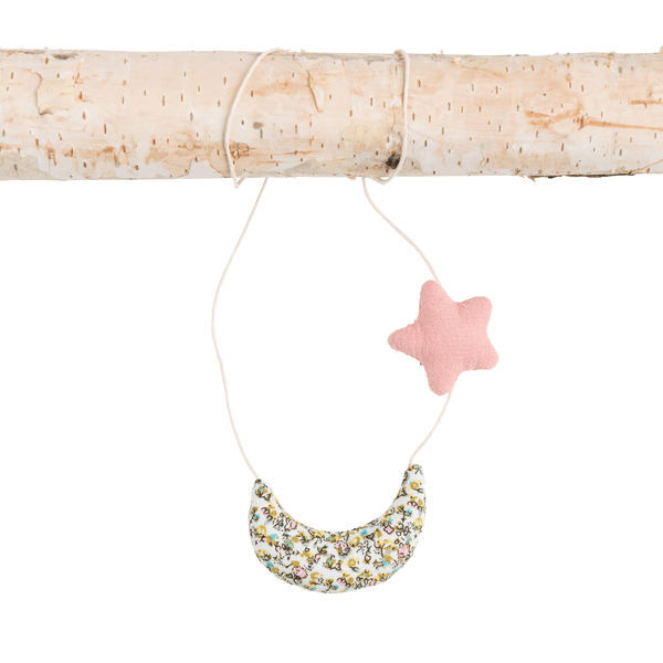 Liberty Print Moon and Star Necklace