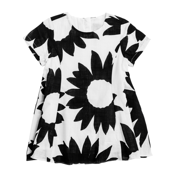 Floral Black and White Linen Dress