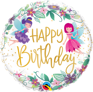 "18"" HAPPY BIRTHDAY WILD FLOWER FAIRIES - Uptown Parties & Balloons"