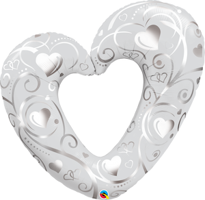 Hearts & Filigree Silver Super Shape - Uptown Parties & Balloons